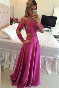 Long Sleeve Prom Dress,A-Line Prom Dress,Appliques Prom Dress,Sexy Prom Dress