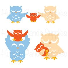 Owl Family SVG Cutting Files, SVG file, SVG cut, owl cutting file, owl clipart, family, owls, birds