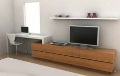 Thanks office pc workstation Tv In Bedroom, Bedroom Decor, Home Decor Furniture, Furniture Design, Modern Tv Units, Living Room Tv, Small Apartments, Home Interior Design, Living Room Designs
