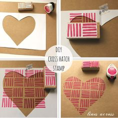 """Lines Across"": DIY Cross Hatch Stamp ... simple masking and stamping create a heart ..."