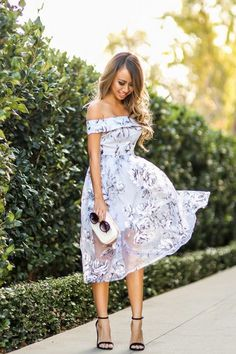 off the shoulder printed wedding guest dress