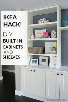 Save a ton of money by creating a large family room built-in on a budget using I. - Ikea DIY - The best IKEA hacks all in one place Built In Shelves Living Room, Built In Bookcase, Living Room Storage Cabinets, Storage In Living Room, Billy Bookcase Hack, Ikea Storage Cabinets, Bookcases, Ikea Kitchen Cabinets, Built In Cabinets