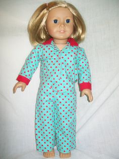 18 inch american girl doll pajamas outfit by Emilysdollcloset, $12.00