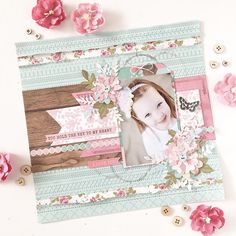 So much love for this gorgeous layout by featuring our Miss Betty collection! You'll find a full video tutorial on how to… Scrapbook Patterns, Scrapbook Sketches, Scrapbooking Layouts, Scrapbook Pages, Baby Girl Scrapbook, Wedding Scrapbook, Scrapbook Paper Crafts, Scrapbook Supplies, Paper Crafting