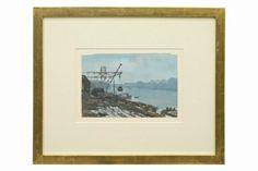 "Watercolor scenic gouache painting by Fernand Dantan 19.75"" W 16.5"" H Origin: France, circa 1940"