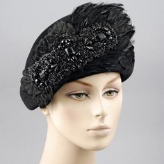 black beret - black ribbon & lace trim