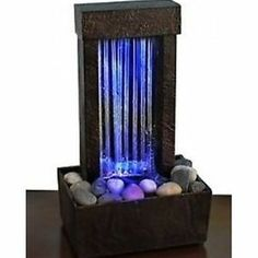 Indoor Tabletop Water Fountain Color Changing Glass Home Desk Decor Accent Rocks | eBay
