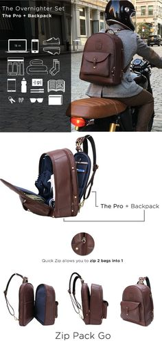 The Leather Duffle Backpack 6-in-1 Set || Zip Pack Go by…