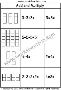 Multiplication – Add and Multiply – Repeated Addition -One Worksheet / FREE Printable Worksheets – Worksheetfun Free Printable Multiplication Worksheets, Multiplication Test, First Grade Worksheets, Maths, Repeated Addition Worksheets, Repeated Addition Multiplication, Times Table Chart, Times Tables, Third Grade Math
