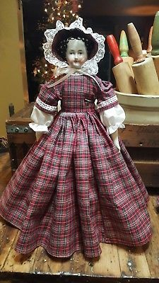 antique-style-civil-war-dress-amp-bonnet-for-a-china-head-doll-16-034-to-18-034-pretty