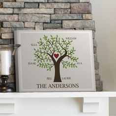 Family Tree on Canvas in 3 Designs Personalized Wall Art 14x18 | eBay