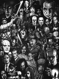 Monsters and Horror Movie Collage ~Halloween Arte Horror, Horror Art, Gothic Horror, Classic Horror Movies, Iconic Movies, Latest Movies, Dark Beauty, Movie Collage, Collage Photo