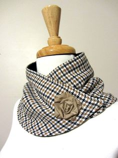 Upcycled Tan and Black Houndstooth Neck Warmer by FashionCogs, $38.00