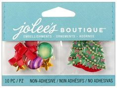 Jolee's Boutique Embellishments let you add just a little something extra to your paper crafting projects, whether it be a card for someone special, a scrapbook page of that special memory, or a piece of home decor. Jolee's Boutique Embellishment Christmas Ornaments and Trees includes non-adhesive embellishments that include 4 ornaments, 2 stars, 2 ribbons, and 2 trees. Colors include Red, Green, Purple, Gold, and White, with epoxy, glitter, ribbon, beads and rhinestone accents. Measurem