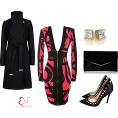 Zipper front pink and black graffiti dress