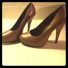 MIA tan wood heel pumps MIA tan wood heel pumps size 7 MIA Shoes Heels