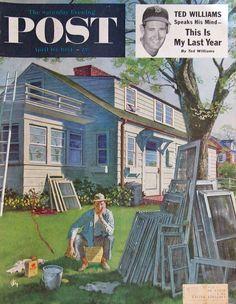 "1954 ""Window Screens"" - Artist Thornton Utz - Saturday Evening Post Cover Art -"