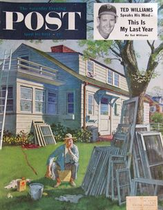 "1954 ""Window Screens"" - Artist Thornton Utz - Saturday Evening Post Cover Art -"