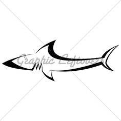 The stylized image of shark. Can be used as a sketch of tattoo. Vector illustration on white background. Outline.
