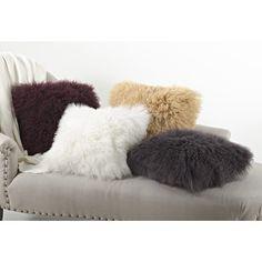 Saro Mongolian Lamb Fur Wool Throw Pillow | Wayfair