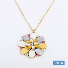 Women's Shell Petal Layers Flower Drop Crystal Pistil Party Gold Chain Necklace #Unbranded #Pendant