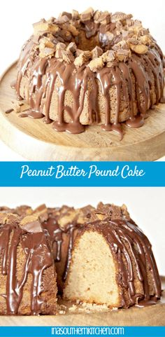 Peanut Butter Pound Cake topped with chocolate glaze and crumbled Reese's Peanut Butter Cups. If they could put Heaven on a plate, this would be it. via @insouthernktchn