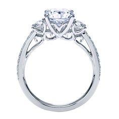 14k White Gold Diamond 3 Stones Engagement Ring   Gabriel & Co NY   ER7283W44JJ