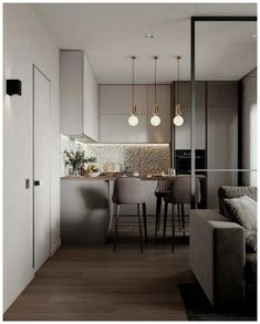 cool Lovely Small Apartment Interior Design Ideas That You Need To Imitate Small Apartment Kitchen, Modern Kitchen Interiors, Small Apartment Layout, Apartment Design, Small Apartment Interior, Apartment Interior Design, Small Modern Kitchens, Apartment Interior, Modern Kitchen Design
