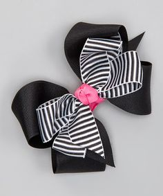 Love this Black & White Double Layered Stripe Bow Clip by Picture Perfect Hair Bows on #zulily! #zulilyfinds