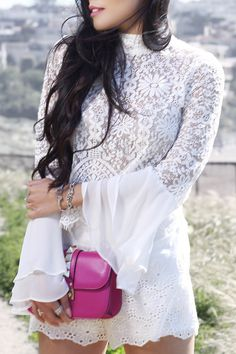 #summer #outfits  White Bell Sleeve Lace Dress + Pink Clutch