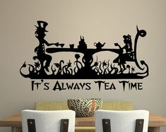 Cheap tea clay, Buy Quality tea glass directly from China tea ginseng Suppliers: It Is Always Tea Time Quotes Alice In Wonderland Vinyl Wall Sticker Home Room Decor Mad Hatter Tea Party Wallpaper Alice In Wonderland Time, Alice In Wonderland Bedroom, Wonderland Party, Kids Room Wall Decals, Vinyl Wall Stickers, Wall Murals, Wall Art, Mad Hatter Tea, Mad Hatters