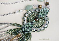 Fringe necklace micro-macrame jewelry glass beaded
