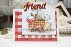 """Made by Cindy Hoesel for Whimsy Stamps. Crissy Armstrong """"Purrfect Picnic"""", card"""
