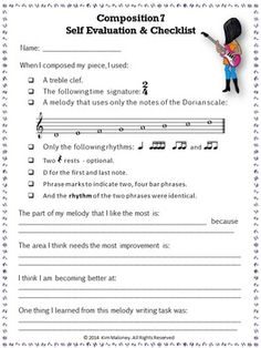 TEN composition tasks for middle school musicians! Student checklist and self-evaluation included for each! #musiceducation #musedchat.