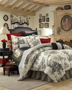 """Black & Creamy-White French Toile -""""BOUVIER"""" - Deep, Cranberry Red Accent Pillows, Antique Bed Heasboard painted Black, Matching Toile Curtains."""