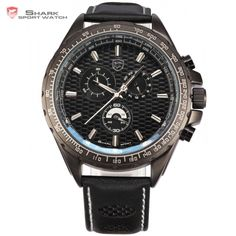 Genuine Brand Shark Sport Watch 6 Hands Day Display Chronograph Stop Black Leather Band Men Luxury Military Quartz-Watch / Army Watches, Sport Watches, Watches For Men, Frilled Shark, Shark Man, Mens Designer Watches, Fashion Watches, Black Leather, Mens Fashion