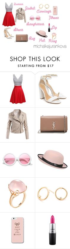 """Red Dresses"" by michalkajurankova on Polyvore featuring Schutz, Sans Souci, Yves Saint Laurent, ZeroUV, Pilot, Goshwara and MAC Cosmetics"