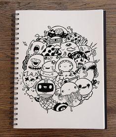 Doodle art on Behance Doodle Art Letters, Cute Doodle Art, Cool Doodles, Doodle Art Designs, Kawaii Doodles, What Is Doodle Art, Doodle Art Simple, Cute Monsters Drawings, Cute Cartoon Drawings