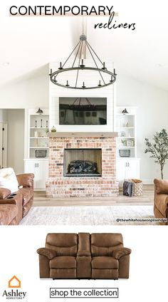 Brick Fireplace Makeover, Fireplace Built Ins, Home Fireplace, Living Room With Fireplace, Fireplace Design, New Living Room, Home And Living, Brick Fireplace Remodel, Brick Fireplaces