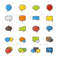 Speech Bubble Set Of Abstract Vector Color Icon Style Colorful Flat Icons — Vector EPS #organization #comment • Available here → https://graphicriver.net/item/speech-bubble-set-of-abstract-vector-color-icon-style-colorful-flat-icons/17924059?ref=pxcr