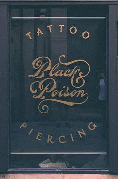 Black Poison. Reverse glass signpaint.