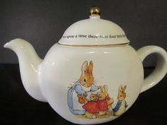 Vintage 1997 Beatrix Potter Peter Rabbit Teapot Tea Pot Gold Trim Gilt Porcelain by mariehotdeals on Etsy