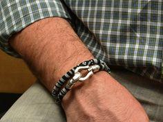 black and white ethnic bracelet * mens fabric bracelet * ethnic jewelry * doble wrap fabric bracelet * gifts for him * men women bracelet
