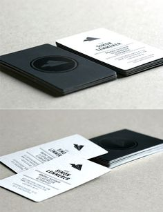 Sophisticated Black And White Minimalist Letterpress Business Card Design