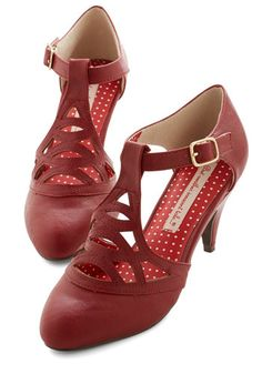 Shop 1920s Style Shoes for Women. Fancy vamp T straps in Red. $69  #1920sfashion #1920sshoes #shoes
