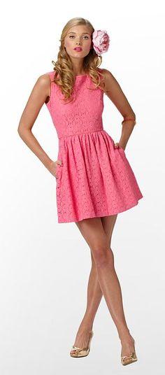 aleesa dress in hotty pink petal pusher lace