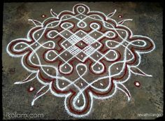 Rangoli Rev's chikku kolam 70. 9 to 1 straight dots. | www.iKolam.com
