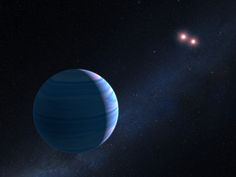 This artist's illustration shows a gas giant planet circling a pair of red dwarf stars. The Saturn-mass planet orbits roughly 300 million miles from the stellar duo. The two red dwarf stars are a mere 7 million miles apart.  Astronomers using NASA's Hubble Space Telescope, and a trick of nature, have confirmed the existence of a planet orbiting two stars in the system OGLE-2007-BLG-349, located 8,000 light-years away towards the center of our galaxy.