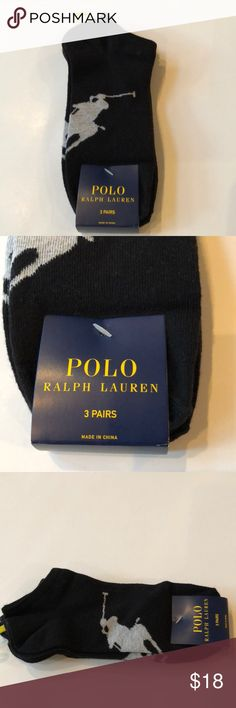 New 3 Pair Polo Ralph Lauren Mens Low Cut Socks Condition: NWT Size: Sock 10-13 Shoe 6-12.5 Color: Black  Material:  70% Cotton 27% Polyester 3% Spandex  Details:  Low cut Polo by Ralph Lauren Underwear & Socks Athletic Socks