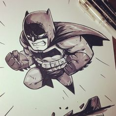 Chibi Batman ink and marker sketch #batman #dccomics #prismacolor #ink #sketch #sketchbook